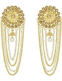 The Luxor Gold Plated Pearls Tassel Bahubali Jhumki Earrings For Women And Girls (ER-1782)