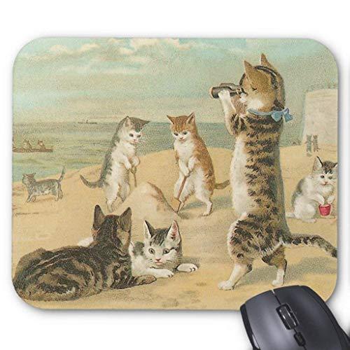 Drempad Gaming Mauspads Custom, Cats On The Beach Vintage Mousepad