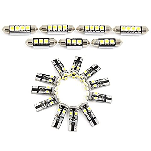 X AUTOHAUX® 18x Canbus Error Free White Car LED Lights Interior Dome Map Glove Box Footwell Cargo Area