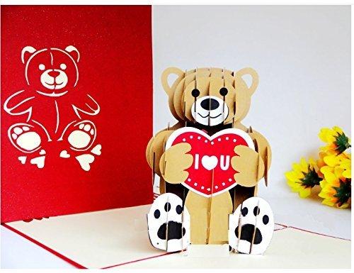 dgemachte 3D Pop-up-Karte Teddybär Liebe Herz ich liebe dich Geburtstag Valentinstag Vatertag Verlobung Hochzeit Geschenk Jubiläum Weihnachten Neujahr Geschenk für ihn ihre Freund Familie ()