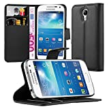 Cadorabo Hülle für Samsung Galaxy S4 Mini - Hülle in Phantom Schwarz – Handyhülle mit Kartenfach und Standfunktion - Case Cover Schutzhülle Etui Tasche Book Klapp Style