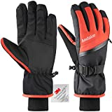 Andake Ski Gloves for Men, 3M Thinsulate Warm Winter Snowboard Gloves Insulated Gloves Waterproof Windproof Gloves with Adjustable Cuffs, Best for Riding, Snowboarding,Skiing and other Winter Sports
