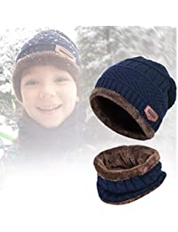 572299139a2 Warm Knitted Beanie Hat and Circle Scarf Set UKLink Winter Hat for Boys  Girls Kids Skull