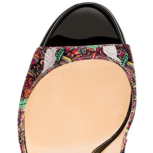EDEFS Damenschuhe 120mm Peep Toe Slingback High Heels Sandalen mit Schnalle Öffnen Zehe Stiletto Schuhe Blume-Rote