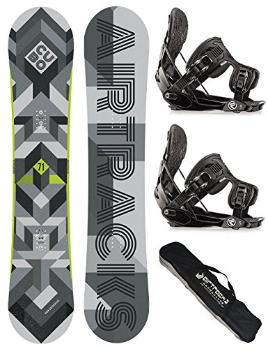 AIRTRACKS SNOWBOARD SET - BOARD CUBO WIDE 161- SOFTBINDUNG FLOW FIVE L - SB BAG (Hose Air Flow)