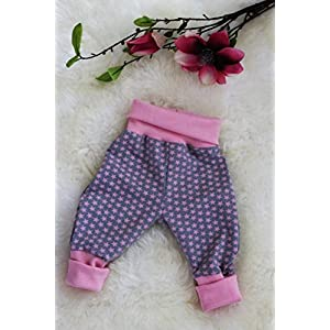 Baby Pumphose Schlupfhose newborn Gr. 56-68 Sternchen Sterne rosa-grau