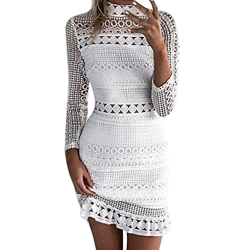 Mallorma® Frauen Sexy Spitze Bodycon Cocktail Party Bleistift Midi Dress Bandage Kleider Sexy Spitze Party Bleistift Langarm Minikleid Kleid Langarm-leggings