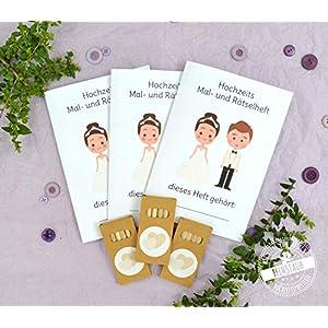 Malbuch Rätselheft, Kinder Beschäftigung auf Hochzeit, 3er 5er 10er Set, Malheft mit Buntstiften