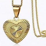 JOYIYUAN Colgante Chapado en Oro con Forma de corazón, Colgante de Acero Inoxidable, joyería del Collar. (Color : Oro, Size : 18inch)