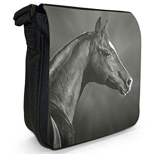 Pferd Hengst stark schön Schwarz Kleine Schultertasche aus schwarzem Canvas Araber Hengst Schwarz & Weiß