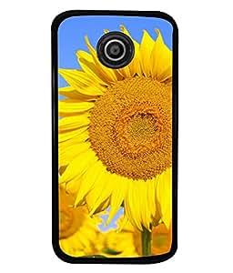 PrintVisa Designer Back Case Cover for Motorola Moto E :: Motorola Moto E XT1021 :: Motorola Moto E Dual SIM :: Motorola Moto E Dual SIM XT1022 :: Motorola Moto E Dual TV XT1025 (Outstanding yellow sunflower sky blue)