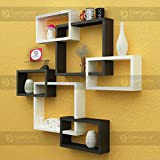 SANTOSHA D??COR Intersecting Floating Storage Decoration Wall Shelves (L-12.75x15.5x4-inch,S-6.5x11x4-inch) (Black White, SD4232)-Set of 6
