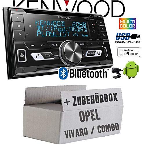 Autoradio Radio Kenwood DPX-5100BT - 2-DIN Bluetooth USB Apple Android Autoradio PKW KFZ Paket - Einbauzubehör - Einbauset für Opel Vivaro A Combo C - JUST SOUND best choice for caraudio Apple Combo