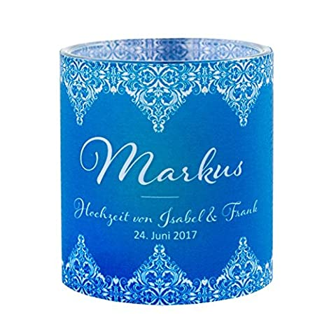 Tischkarte Windlicht Vintage Love Blau mit Druck: Platzkärtchen, Tischkärtchen, Namensschilder für Hochzeit, Geburtstag, Taufe, Kommunion