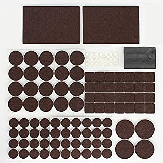 Premium Furniture Pads, Self Adhesive Furniture Felt Pads, 142pcs Furniture Protect Pads for Hard Surface from Scratches or Noise, Wood Floor Protector, 112 Felt Pads & 30 Rubber Bumpers (Brown)