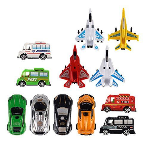 Zhhlaixing Spielzeug für Kinder Traffic Multiple Ful-lback 8 Police Cars 4 Plane Set Children's Model Toys for 3-6 Year Old Boys