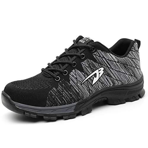 SUADEEX Damen Herren Sicherheitsschuhe Sportlich Trekking Wanderhalbschuhe Stahlkappe Arbeitsschuhe Hiking Schuhe Traillaufschuhe, 05-grau, 37 EU