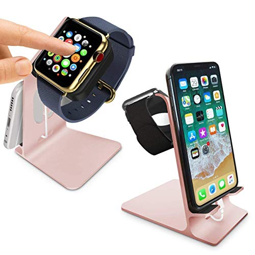 Orzly® - DuoStand Charge Station für Apple Watch & iPhone - Aluminium Aufladegestell (ROSE GOLD) fuer das IPhone und Apple Watch - Geeignet fuer iPhone Modelle: 5/5S/5C/6/6 PLUS & AppleWatch (42mm & 38mm) (original BASIC model / SPORT version / edition models