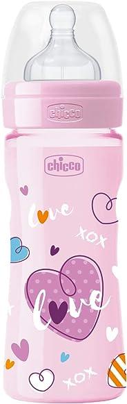 Chicco Wellbeing Pp Renkli Biberon, Kız, 250 Ml, Silikon Akış Ayarlı, Şeffaf