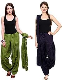 BILOCHI'S Combo Of Mehendi Green :: Navy Blue 2 Best Indian Pure Cotton Readymade Punjabi Solid Patiala Salwar...