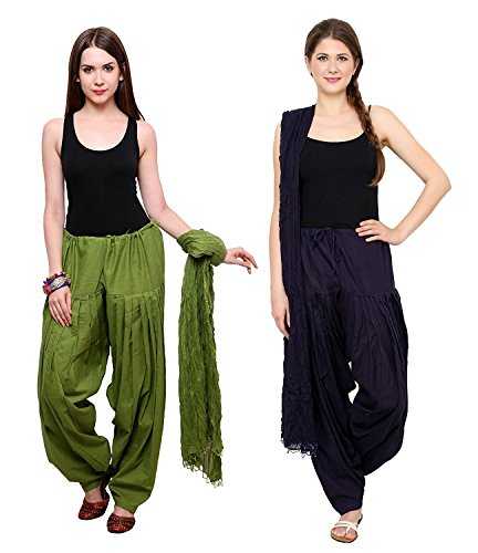 BILOCHI'S Combo Of Mehendi Green :: Navy Blue 2 Best Indian Pure Cotton Readymade Punjabi Solid Patiala Salwar...