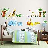 Decowall DM-1409 Tropischer Dschungel Tiere Wandtattoo Wandsticker Wandaufkleber Wanddeko für Wohnzimmer Schlafzimmer Kinderzimmer Test