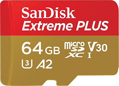 SanDisk Extreme Plus 64GB microSDXC Class 10 Speicherkarte mit SD-Adapter, Gold/Rot -