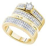 Dazzlingrock Collection - Juego de anillos de boda de diamante de 14 quilates para hombre y mujer, 0,45 quilates, centro redondo de 2 quilates, oro amarillo