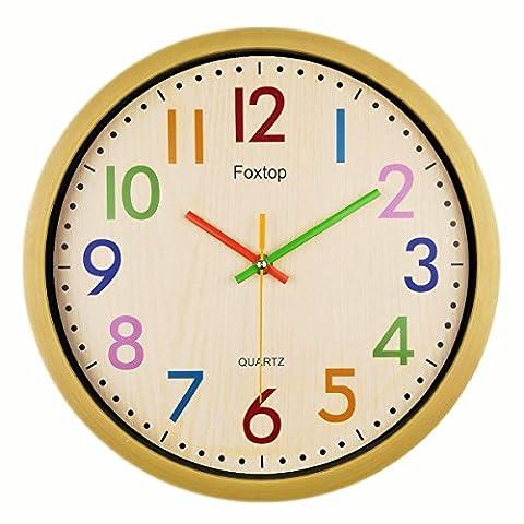 Foxtop Modernen Bunten Kinderwanduhr Stille Nicht-tickende Wanduhr, ohne Ticken Wanduhr,