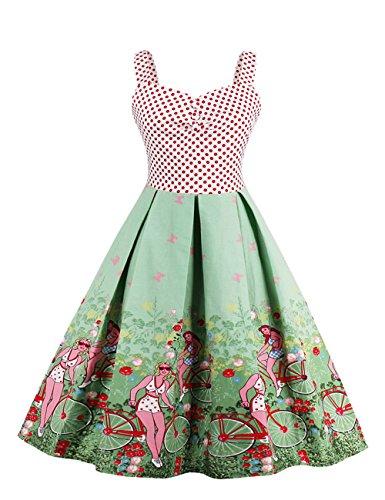 VKStar® Retro Kleider damen 50er 60er Spaghettiträger ärmelloses Abendkleid Stoffdruck Vintage Kleidung Damen Rockabilly Hellgrün XXL (Jahre 60er Vintage-kleidung)