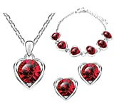 Mianova Damen 3 teiliges Set Silber in Herz Form mit runden Swarovski Elements Kristallen - Ohrringe Armband und Kette Rot
