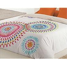 Reig Martí Boho - Juego de funda nórdica estampada, 3 piezas, para cama de 90 cm, color naranja