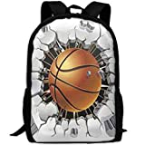 HOJJP Mochila escolar Basketball Unisex Print Backpack Canvas Bag School Student Bookbags Daypack Laptop