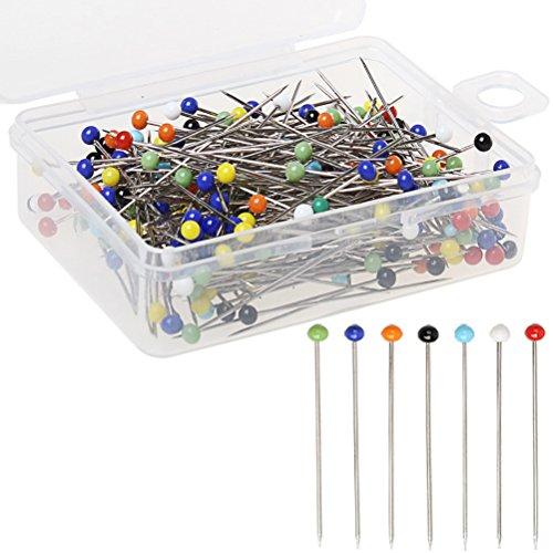 Pins, Glas Kopf Pins 38 mm multicolor Quilten Pins mit Box für Basteln ()