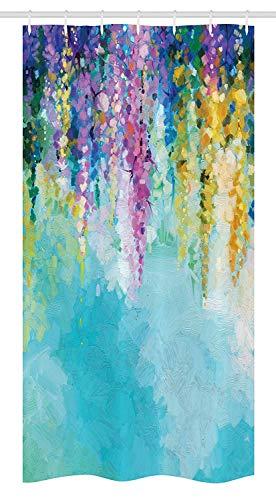 Godfery walsh shower curtain 66x72 pollici tenda per doccia con fiori,ivy astratta romantica e paesaggio primavera grafica floreale tema natura,set da bagno in tessuto con ganci,viola turchese