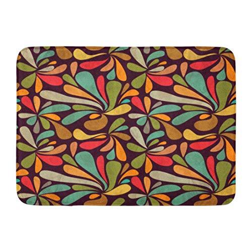 Fußmatten Bad Teppiche Outdoor/Indoor Fußmatte 1960er Jahre Retro abstrakte Muster 1950er Jahre 1970er Jahre Linie Floral Sommer Badezimmer Dekor Teppich Badematte -