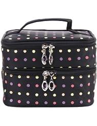 Polka Dots filles Deux-couche de maquillage professionnel de la femme de poche Zipper Pouch de toilette Trousse de toilette Organisateur pour Voyage Home Use (Noir)