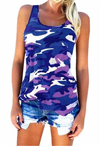 FONLONLON Camuffamento T Shirt Allentato Canotta Eleganti Moda Popolare T-Shirt Donna Casual Top Camicia Unico Senza Spalline Maglietta Halter Top Slim Fit Canotta Blue