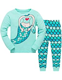 Kids Baby Girls Pyjamas Set Horse Giraffe Nightwear Sleepwear Christmas Long Sleeve PJS 2 Piece Outfit
