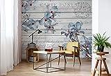 Blumen Holz Muster Vintage - Wallsticker Warehouse - Fototapete - Tapete - Fotomural - Mural Wandbild - (3545WM) - XXXL - 416cm x 254cm - VLIES (EasyInstall) - 4 Pieces