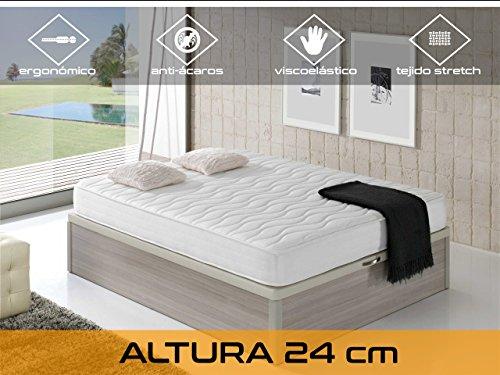 Dormi Premium Cloud 24 5.0 Viscoelástico, Algodón/Poliuretano, Blanco, Individual, 90 x 190 cm, ortopédico...