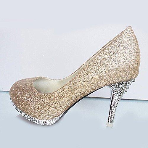 XINJING-S Bowknot Tacchi Alti scarpe matrimonio partito donne tacchi pompe OL vestono scarpe Sandali Champagne 10cm