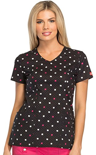 Mode-Drucke von Frauen mit V-Ausschnitt Polka Dot Print Peeling Top X-Large Print (Tasche V-ausschnitt Eine Scrub Top)