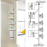 FunkyBuys® WHITE 4 Tier Adjustable 70-240cm Telescopic Shelf Bathroom Organiser Home New by FunkyBuys