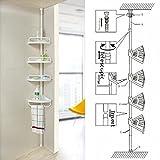 White 4 Tier Adjustable Telescopic Shelf Bathroom Organiser