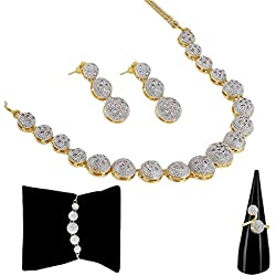 Kaizer Jewelry American Diamond Party Wear Traditional Stylish Fashion Jewellerry Combo of Necklace Pendant Set/Ring /Bracelet with Earring for Women/Girls (Gold)