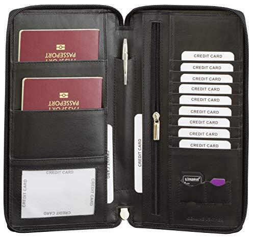 Smart RFID blocco in vera pelle viaggio organiser ePassport portafoglio nero/marrone vera pelle Picasso zip intorno TUV testato e certificato sm-947
