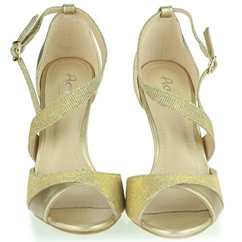 Femmes Dames Shimmery Orteil Ouvert Sangles Latérale Talons Hauts Stilettos Soir Fête Mariage Bal de Promo De Mariée Des sandales Chaussures Taille Or