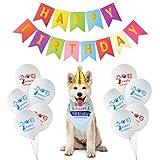 TUPARKA Forniture per Feste Compleanno Cani, Include Bandana Compleanno per Cani, Cappello da Compleanno per Cani, Buon Compleanno Banner, 10 Palloncini di Compleanno di Cane