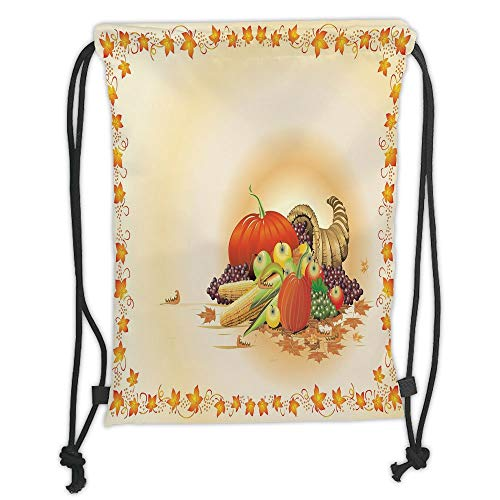 ZKHTO Drawstring Sack Backpacks Bags,Harvest,Maple Tree Frame with Rustic Composition for Thanksgiving Halloween Dinner Food,Multicolor Soft Satin,5 Liter Capacity,Adjustable String Closure,T